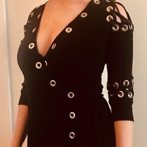 DVF black ribbon and hardware  dress